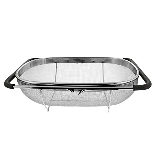 Over the Sink Colander Strainer Fine Mesh Oval Stainless Steel with Expandable Rubber Grip Handles for Strain, Drain, Rinse Fruits and Vegetables