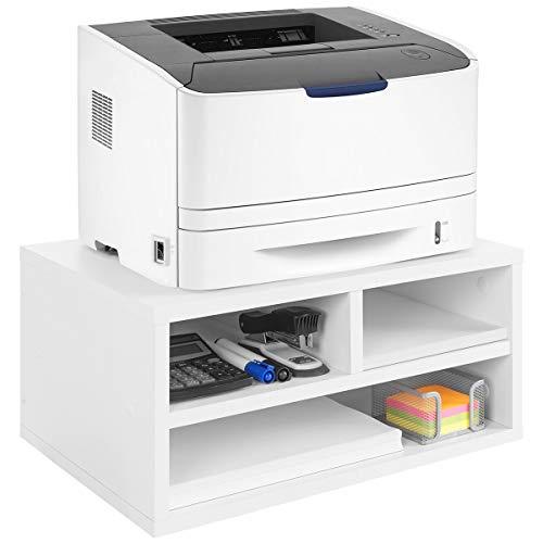 COMIFORT Druckerständer - Funktionale Halterung Ständer für Drucker/Faxgerät mit Geräumigen Fächern, Sehr Belastbar, Moderner und Minimalistischer Stil, Holz, Caletes Weiß