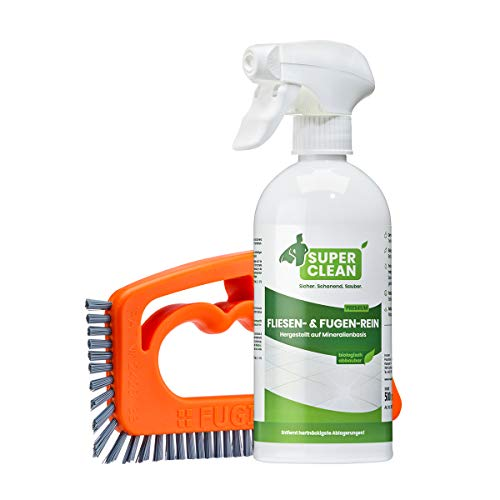 Super Clean Fliesen & Fugen-Rein (1 x 500 ml) + FUGINATOR Fugenbürste – zur optimalen Fugenreinigung in Bad, Küche und Haushalt