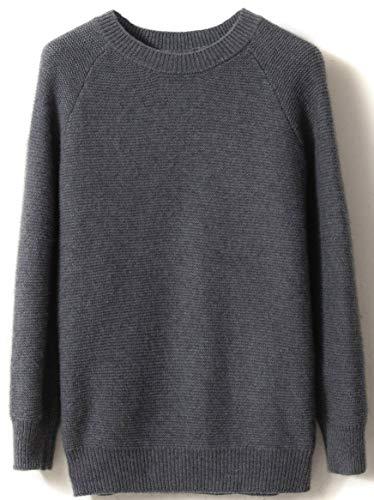 LinyXin Cashmere Damen Kaschmir Pullover Wolle Rundhals Langarm Freizeit Winter Warm Pulli Sweater (L / 42-44, Grau)