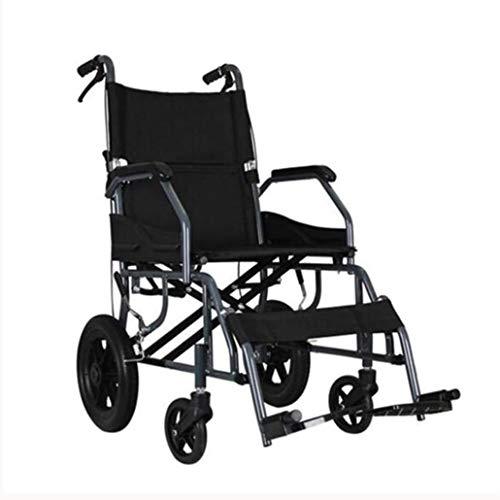 ZZR Inklapbare transportrolstoel met 12 inch (30,5 cm), opklapbare voetsteunen, lichte rolstoel van aluminiumlegering, voor volwassenen, 120 kg kinderwagen, zelfrijdend B rood