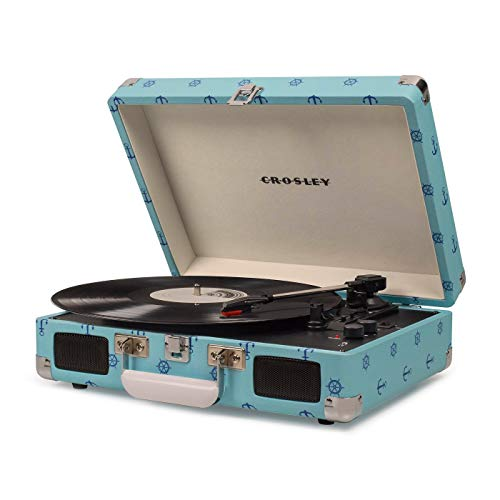 Crosley Cruiser Deluxe Portable 3-Speed Turntable with Bluetooth (CR8005D) with RCA Output (Sky Blue)