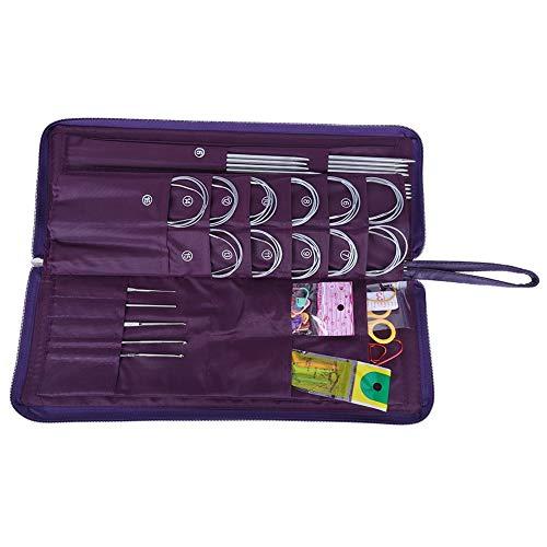 Dancal Juego de herramientas de punto de acero inoxidable, rectas, redondas, ganchillo de trabajo de ganchillo, 104 piezas