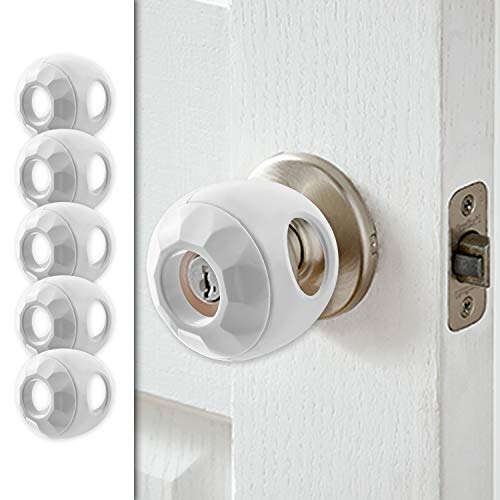 New & Improved - Door knob Baby Safety Cover - 5 Pack - Deter Little Kids from Opening Doors with A Child Proof Door Handle Lock - Driddle