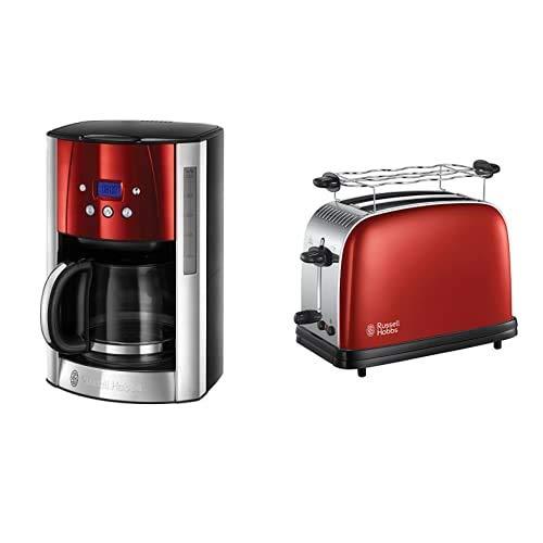 Russell Hobbs Luna - Cafetera de Goteo (Jarra Cafetera de Cristal para 12 Tazas, 1000 W, Rojo) - ref. 23240-56 + Colours Plus 23330-56 – Tostadora