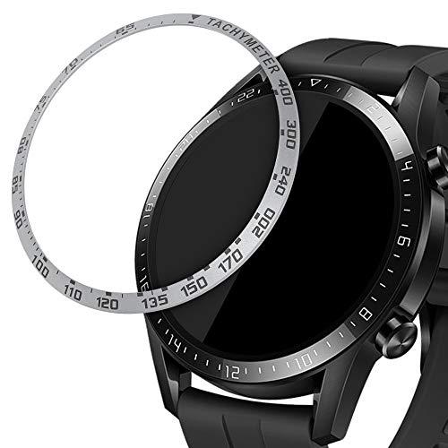 kwmobile Schutzring kompatibel mit Huawei Watch GT2 (46mm) - Bezel Ring Lünette mit Tachymeter Skala Silber Schwarz