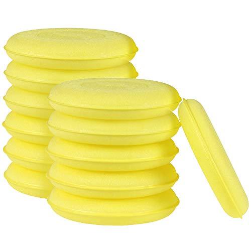 ZoneYan 12 Stück Polierschwämme Wachs Schwämme, Mikrofaser Wachs Applikator Pads, Ultra-Weiches Autowachs Schwamm für Polieren Reinigung Waschen