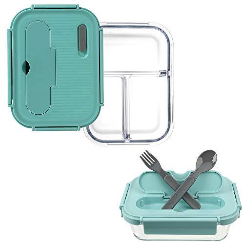 HitzebestäNdiges Glas Mepal Lunchbox, Lunchbox Auslaufsicher FüR Erwachsene, LebensmittelbehäLter Mit 3 FäChern Und Besteck, Mikrowellen- Und SpüLmaschinengeeignete BehäLter,Green-1010ML