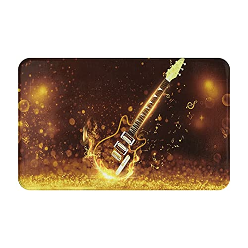 CVSANALA Antideslizante Suave Alfombra de Baño,Música Guitarra Guitarra mágica en Bling Bling,Micro Personalizado Decoración del Hogar Baño Alfombra de Piso,80 x 49 CM