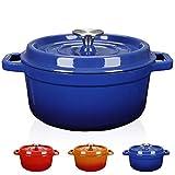 WISELADY Enameled Cast Iron Dutch Oven Bread Baking Pot with Lid (2QT, Blue)
