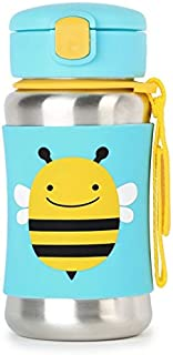 Skip Hop Kids Water Bottle With Straw, Stainless Steel Sippy Cup, Bee