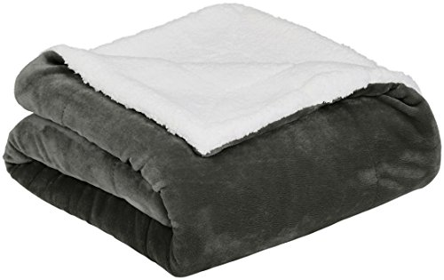 AmazonBasics Soft Micromink Sherpa Blanket - Twin, Charcoal
