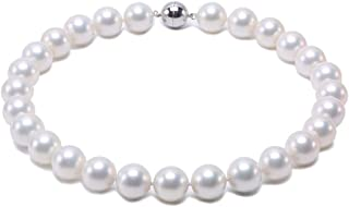 JYX Seashell Pearl Necklace Round South Sea Shell Pearl White Necklace for Women 18