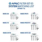 APEC Water Systems FILTER-SET-ES High Capacity Replacement Pre-Filter Set For Essence Series Reverse Osmosis Water… 18 APEC Water ESSENCE Series FILTER-SET-ES is for ROES-50, ROES-PH75, ROES-PHUV75, ROES-UV75-SS and ROES-UV75 Includes (1) sediment and (2) carbon block filters to protect and extend the life of the RO system 1st stage 5 micron Polypropylene sediment filter to remove dust, particles and rust
