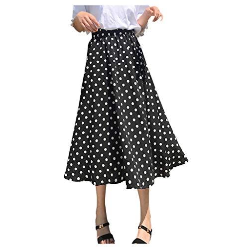 PPangUDing Röcke Damen Sommer Polka-Punkt Gedruckt A-Linie Hohe Taille Plissee Flared Faltenrock Rockabilly Ballkleid Cocktailkleid Abendkleider Partykleid Minikleid Sommerkleid