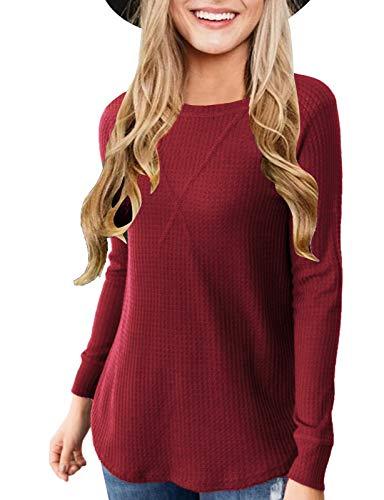 Zattcas Waffle Knit Top Women Crew Neck Raglan Waffle Knit Long Sleeve Shirt,Wine Red,Medium
