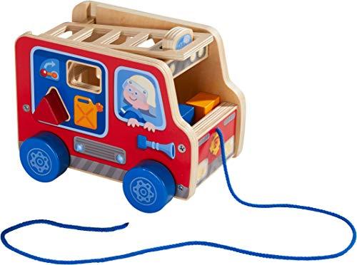HABA 304317 - Ziehfigur Feuerwehrauto, Nachziehspielzeug für Kinder ab 12 Monaten, animiert zum Laufenlernen, mit Bausteinen zum Stecken