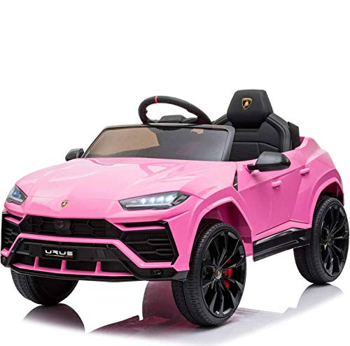 Kids Ride On Car 12V Rechargeable Toy Vehicle,Compatible with Licensed Lamborghini Kids Car w/ MP3 Remote Control,Equipped with Seat Belts, Four Power Wheel Shock Absorbers,Urus,Lights (Pink)