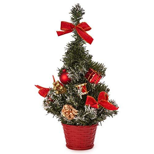 Albero di Natale Decorativo Piccolo, 42cm| Mini Albero di Natale Artificiale con Ornamenti| Resistente e Riutilizzabile| Decorazione della Tavola a Casa o in Ufficio, Addobbi Feste di Natale.