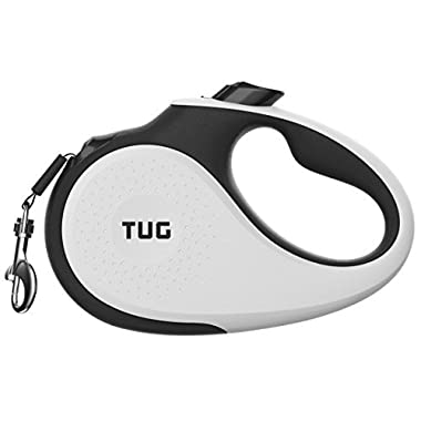 TUG Patented 360° Tangle-Free, Heavy Duty Retractable Dog Leash For Up To 110 lb Dogs; 16 ft Strong Nylon Tape/Ribbon; One-Handed Brake, Pause, Lock …