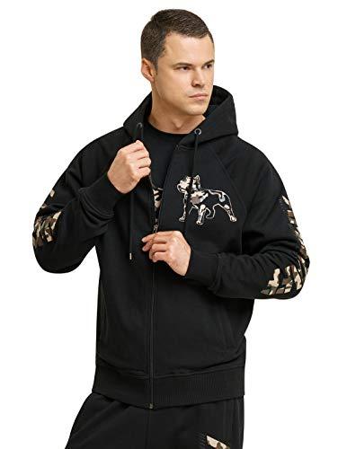 Amstaff Männer Logo 2.0 Zip-Hoodie Kapuzenpullover Schwarz/Camouflage S