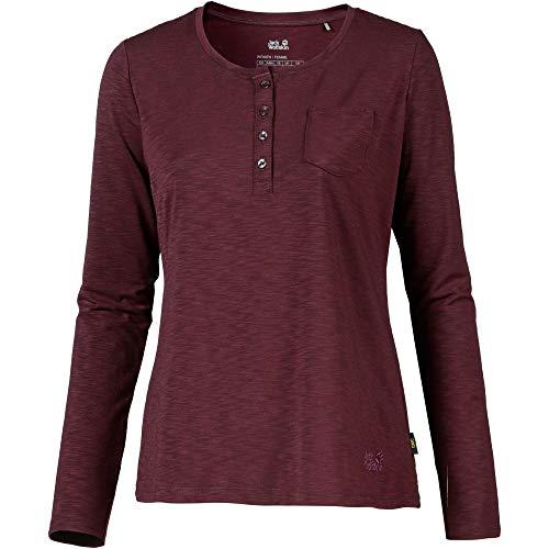 Jack Wolfskin Winter Travel T-Shirt à col Tunisien Femme, Burgundy Modèle XS 2019 T-Shirt Manches Longues