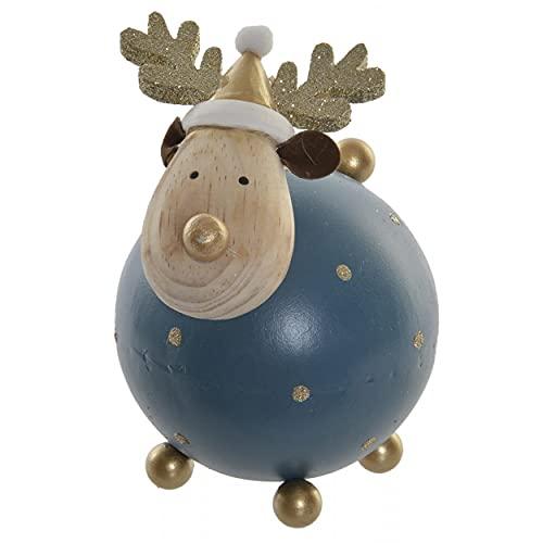 HOGAR Y MAS Reno Navidad Decoración, de Color Azul, Figura de Metal Paulownia, Gorro de Papa Noel 9x9x14cm