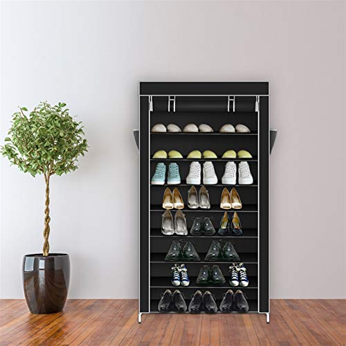 Zapatero de 10 niveles con cubierta a prueba de polvo, organizador de zapatos, color negro