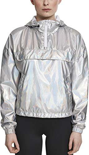Urban Classics Damen Ladies Holographic Pull Over Jacket Jacke, Silber (Silverholographic 01736), Small (Herstellergröße: S)