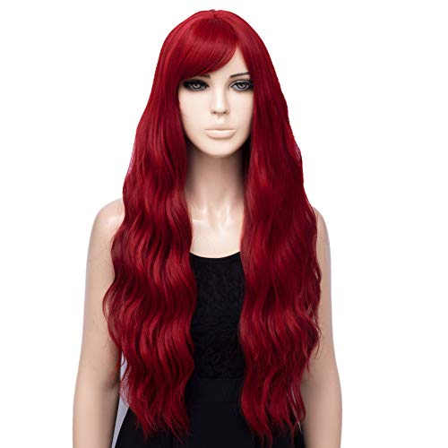 netgo Red Wig for Women, Long Wavy Heat Resistant Fiber Wigs Side Bangs for Girls Daily Cosplay Party Use