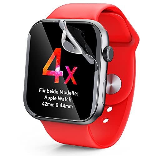 UTECTION 4x Displayschutz für Apple Watch 6 / SE/Series 5,4 44MM und Series 3,2,1 mit 42MM Display - Perfektes Touch-Erlebnis, Schützt vor Schmutz & Kratzern, Durchsichtige Schutzfolie, 4 Stück