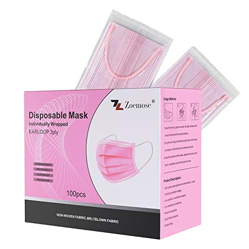 Disposable Face Masks 3-Ply Individually Wrapped for Home, School, Office and Outdoors (100 PCS,Pink)