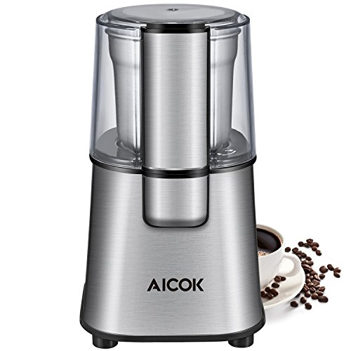Coffee Grinder Electric AICOK Nut & Spice Grinder with Large Capacity Detachable Stainless Steel Bowl, Silver