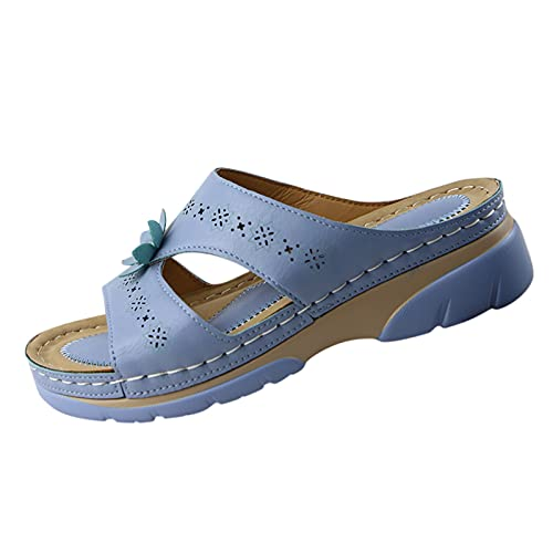 Ghemdilmn Sandalias de mujer para verano, transpirables, para exteriores, cómodas, con dedos abiertos, con cuña, antideslizantes, con suelo extra suave, color Azul, talla 41 EU