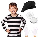 Déguisement de Mime français pour enfant avec t-shirt noir à rayures avec béret noir Gants blancs et peinture blanche Taille S