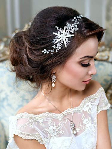 Unsutuo Starfish Wedding Hair Vine Accessories Flower Silver Bridal Headpiece Pearl Wedding Crystal Headbands for Bride