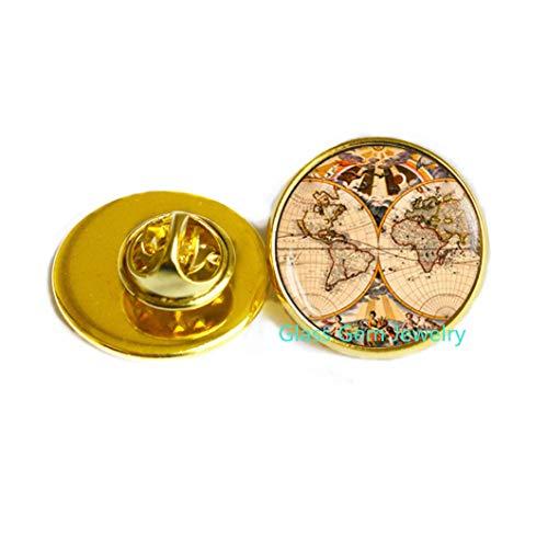Broche de mapa encantador, encantador mapa del mundo, pin de tierra, joyería de mapa, mapa antiguo, regalo para viajeros, Q0078