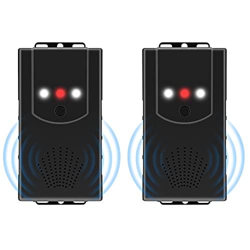 [2 Stück] Marderschreck Auto, Marderabwehr Marderschutz mit Ultraschall und LED-Blitzlichtfunktion, Anschluss an 12V Autobatterie/Batteriebetrieben/USB/ 3 in 1 Netzteil für Garage, Haus, Lagerhaus