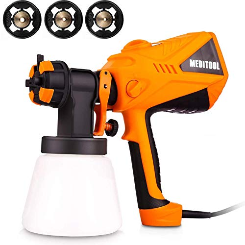 Paint Sprayer, 600W High Power HVLP Home Electric Spray Gun with 1000ml Detachable Container, 4 Nozzle Sizes, Easy Spraying, Cleaning and Filling(Orange)