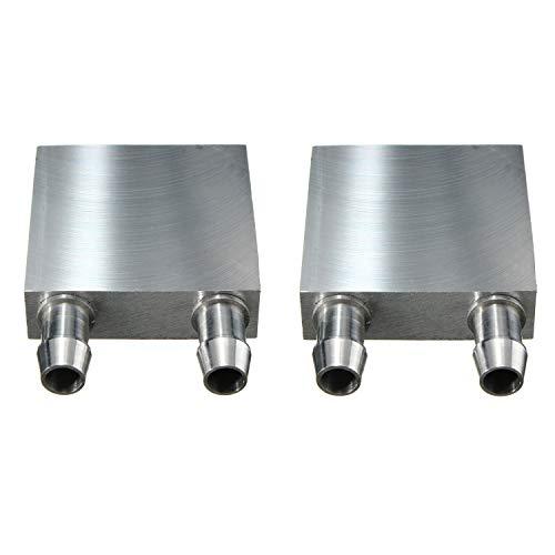Kalolary Wasserkühlung Block 40 * 40mm Aluminium für Flüssigkeit Wasserkühler Kühlkörper System Silber für CPU Grafiken Kühler Kühlkörper (2 Pack)