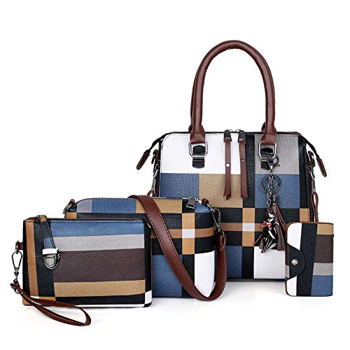 Women's handbags, mother-and-child bag, three-piece fashion stitching, hit color shoulder bag, all-match messenger bag