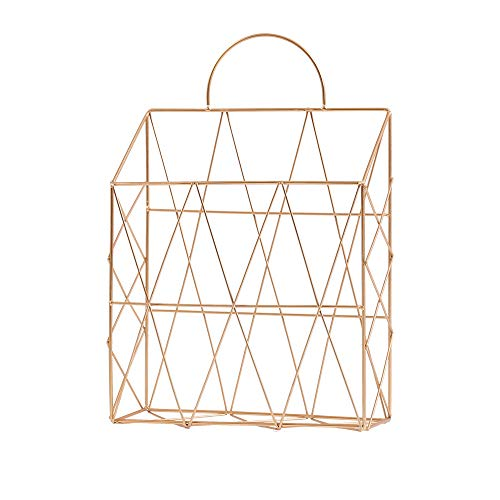 Monody - Revistero de pared de metal portátil para escritorio, cesta de almacenamiento de libros, revistas, periódicos para salón, cuarto de baño o dormitorio (oro)