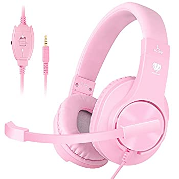 BUTFULAKE Stereo Gaming Headset for PS4 Xbox One Nintendo Switch Adjustable Earmuffs and Over-All Noise Isolation Lightweight 3.5mm Wired Volume Control with Mic for Laptop PC  Pink
