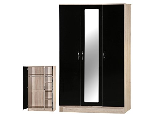 Alpha Noir et Sanremo Chêne 3 Portes Armoire Miroir