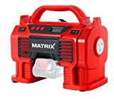 Matrix 511010614 Compresor de Aire comprimido con batería, portátil, 11 Bar, con luz LED, 230 W, 20 V