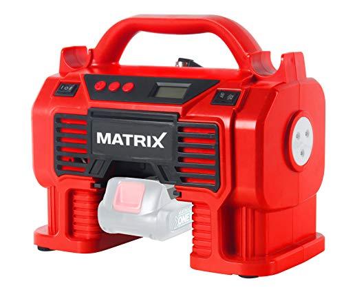 Matrix 511010614 AC 20 Akku Kompressor, Druckluftkompressor, Luftpumpe, tragbar, 11Bar, mit LED-Licht, 230 W, 20 V