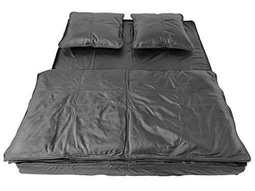 Premium Leder Bettwäsche Set aus sehr weichem Nappaleder | Hochwertige Lederbettwäsche aus echtem Rindsleder | 4-TLG. Bettdecken Set | inkl. Matratzenbezug und Kissenbezug | mit Reißverschluss