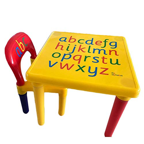Kids Alphabet Table and Chair Set,Learn The Letters While Playing,Best for Meal/Reading/Painting/Art Activity - Toddler Boys & Girls Gift - Safety Mushroom Legs (1 Table,1 Chair)
