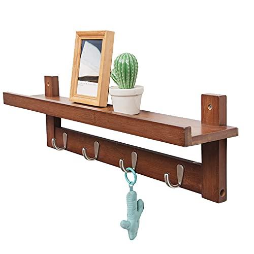 ZYLZL Perchero Gancho Resistente Marrón - Ganchos de Bambú para Colgar en la Pared para Toallas, Ganchos para Sombreros para la Entrada, el Baño, el Dormitorio Y la Cocina,Marrón,4 Ganchos