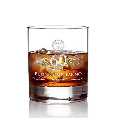 AMAVEL Tumbler da Whisky in Vetro con Incisione - 60 Anni - Buon Compleanno - Bicchieri Cocktail Personalizzati - Degustazione - Accessori Decorativi Casa - Idee Regalo Originali - Capacità: ca 320 ml